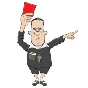 Cartoon referee shows a red card and rules book in pocket
